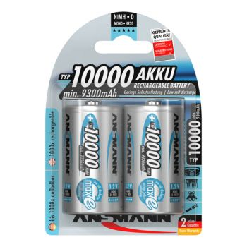 Ansmann HR20 1,2V 10000mAh D-size oplaadbare batterij  NiMH 2-pack