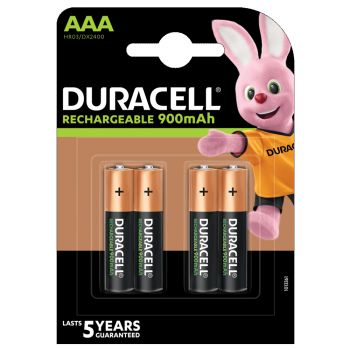 Duracell AAA Rechargeable 900mAh NiMH 4-pack