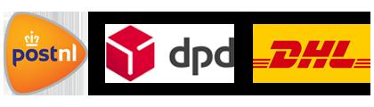 Verstuurd met PostNL, DPD of DHL